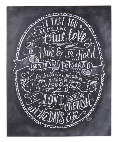 Wedding - 'One True Love' Chalk Wall Sign