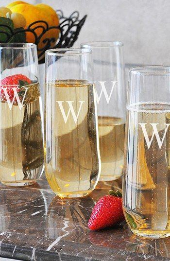 Wedding - Monogram Stemless Champagne Flutes