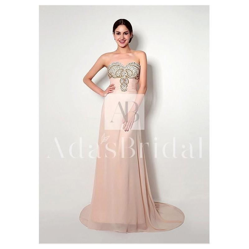 Hochzeit - In Stock Elegant Chiffon Sweetheart Neckline A-Line Prom Dresses With Rhinestones - overpinks.com