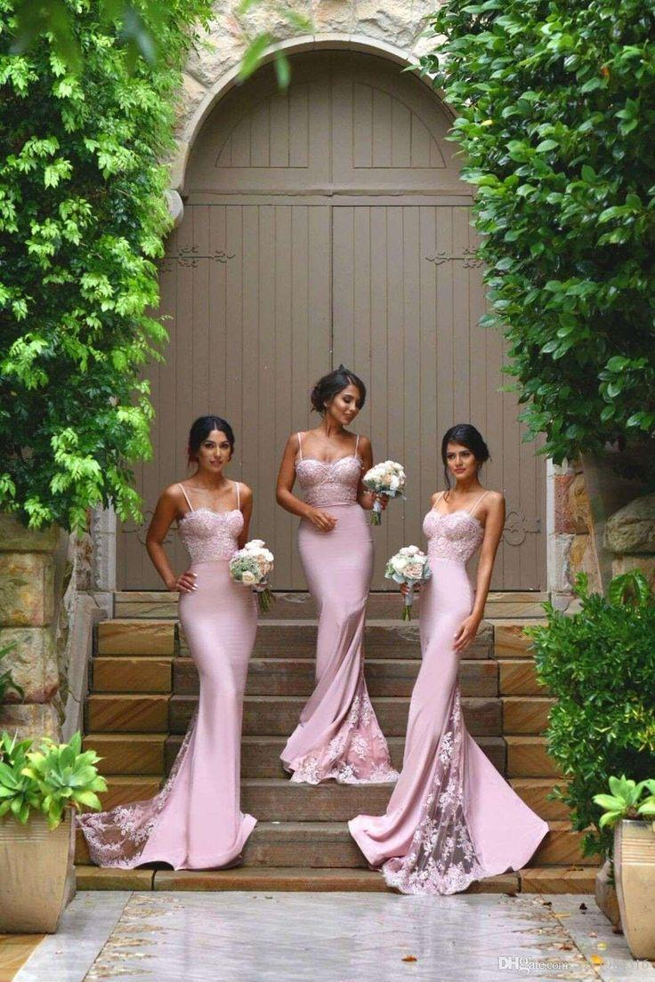 Wedding - Cheap Spaghetti Straps Lace Satin Bridesmaid Dresses Skirt Train Lace Appliques Blush Pink Mermaid Cheap Prom Dresses Bodycon Evening Dresses As Low As $78.72, Also Buy Bridesmaid Gowns Burnt Orange Bridesmaid Dresses From Xzy1984316