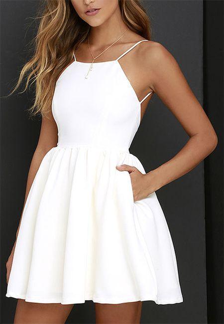 زفاف - White Spaghetti Strap Backless Skater A Line Party Mini Dress