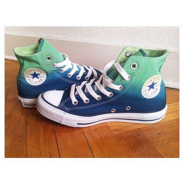 ef51026ec1ca New Pair! Emerald Green Navy Blue Ombre Converse
