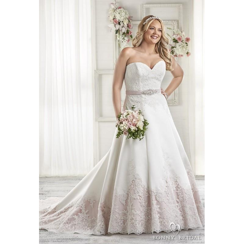 Bonny Bridal 2017 1604 Plus Size Aline Sweetheart Sweep Train Pink Sleeveless Lace Up Liques Satin Wedding Gown Evening Dresses Online