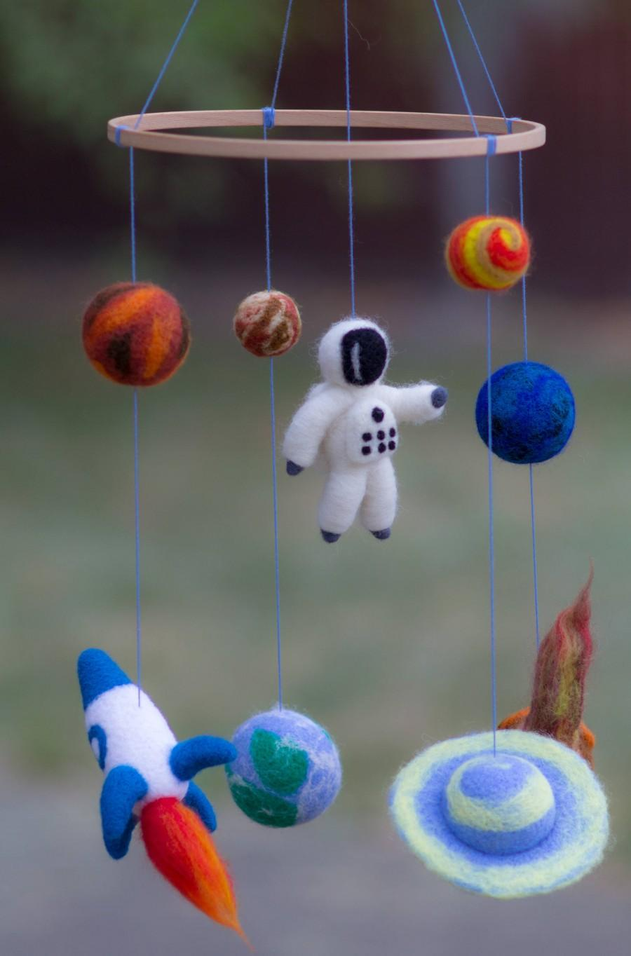 Wedding - Baby Mobile Planets Mobile Baby Crib Mobile Solar Systems mobile Space nursery mobile Earth  Moon Planets Nursery Decor Rocket Ship Mobile