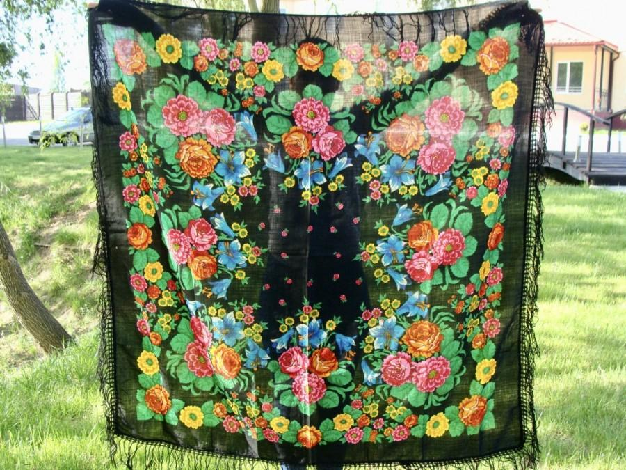 Düğün - Vintage Russian shawl Chale Russe  Wool floral scarf  Black shawl Soviet shawl Soviet scarf USSR wrap Floral shawl Wool shawl Black scarf