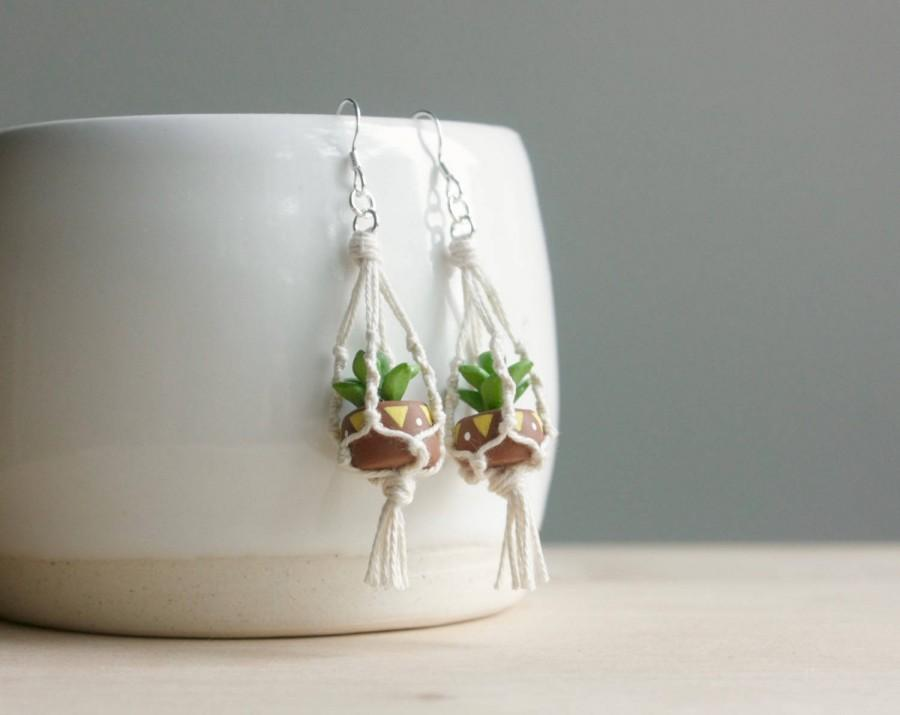 Hochzeit - Hanging Planter Macrame Earrings - miniature succulent, wearable planter, small cactus, sterling silver earrings, mini plant pots