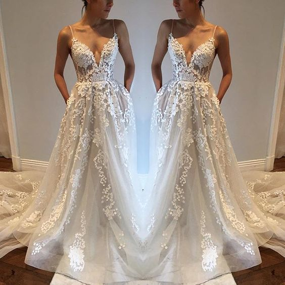 Princesses Wedding Dress Dresses Spaghetti Straps Summer Boho Bridal Gown With Liques Lace