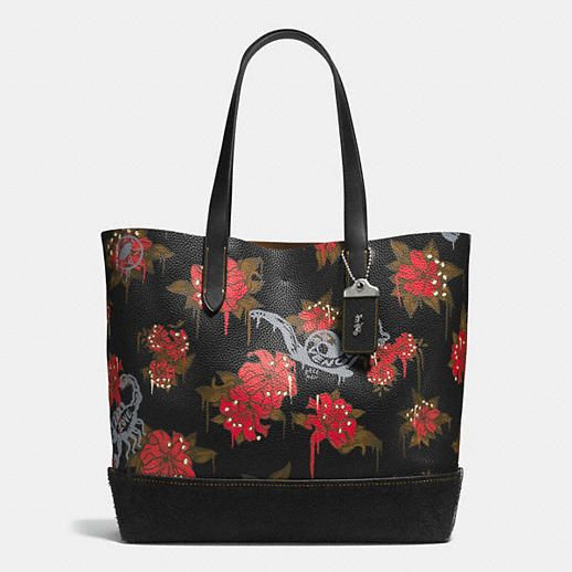 Wedding - Gotham Tote In Pebble Leather With Wild Lily Print