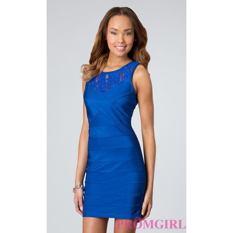 Wedding - Short Sleeveless Lace Embellished Dress - Brand Prom Dresses