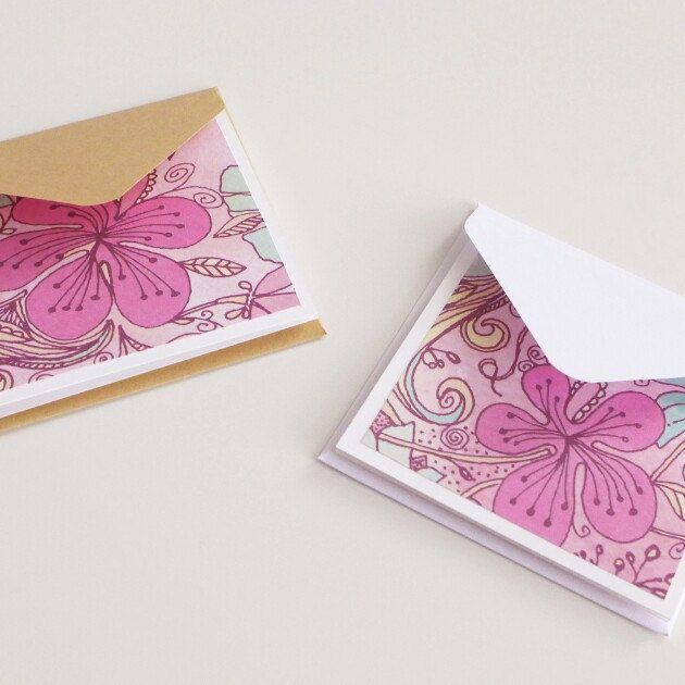 Свадьба - Mini Stationery Set, Floral Pink And Mint Mini Cards With Envelopes, Handmade Note Cards, Square Cards, Love Note, Gift Card, Blank Cards