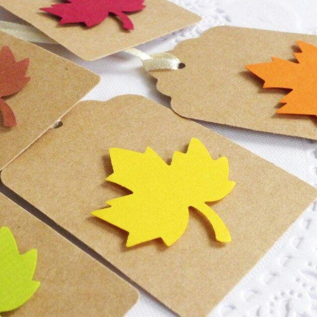Свадьба - Autumn Leaf Tags, Fall In Love Bridal Shower, Autumn Decoration, Fall Wedding, Thanksgiving Decor, Kraft Tags, Autumn Wish Tree