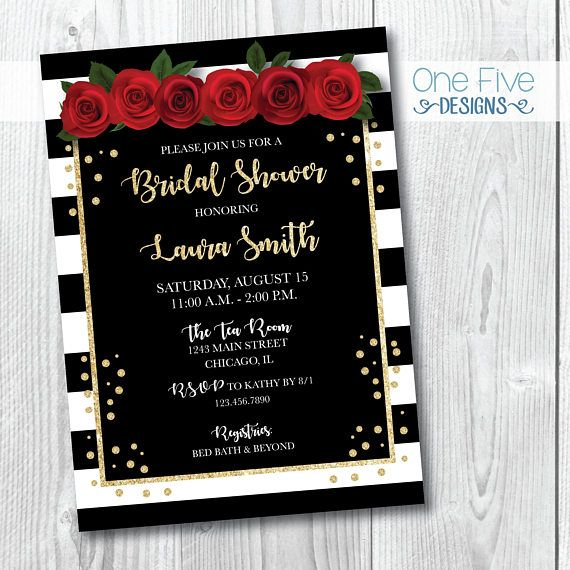 Свадьба - Red Roses And Gold Glitter Bridal Shower Invitation - Printable (5x7)