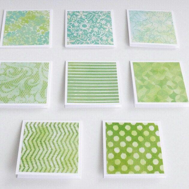 Свадьба - Green Pattern Mini Cards With Envelope, Handmade Note Cards, Square Cards, Love Note, Gift Card, Blank Cards, 3x3 Cards