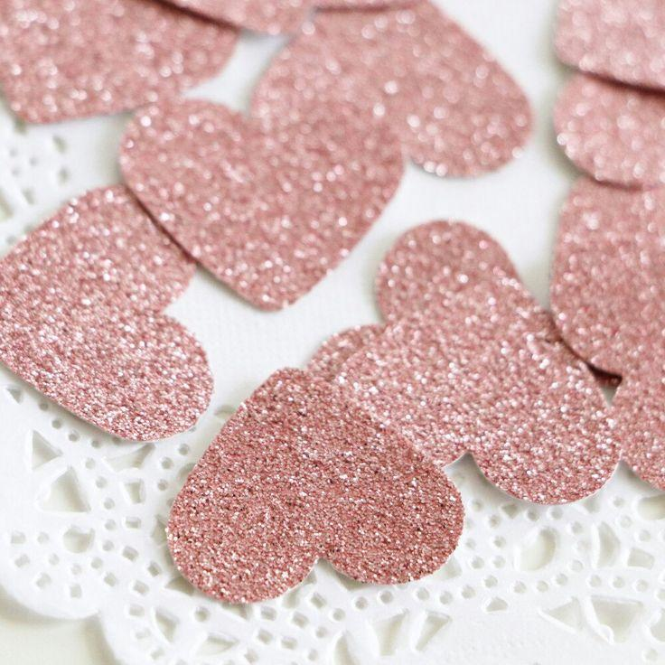 Свадьба - Blush Pink Glitter Confetti, Rose Gold Birthday, Choose Your Color,Heart Confetti, Pink Baby Shower, Baby Girl Gift, Bridal Shower