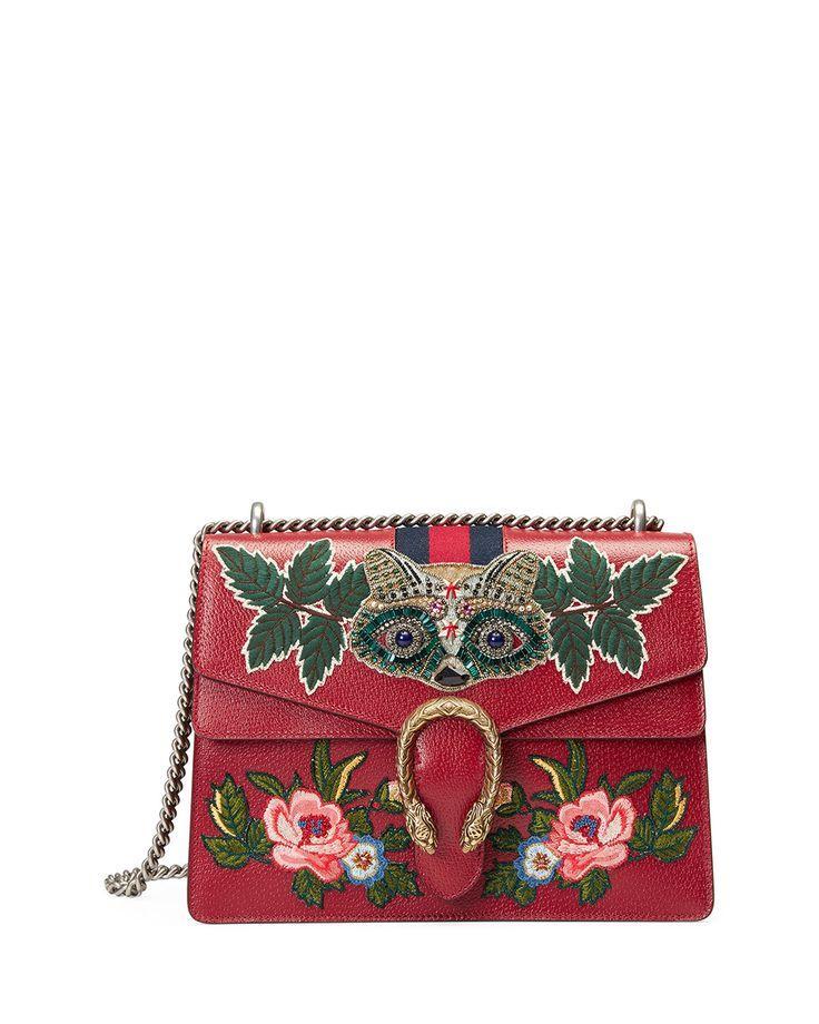 Hochzeit - Dionysus Medium Raccoon-Embroidered Shoulder Bag, Red/Multi