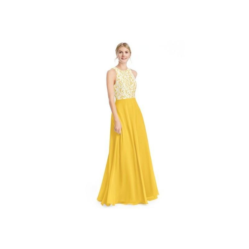 Свадьба - Marigold Azazie Kate - Floor Length Chiffon And Lace Back Zip Scoop Dress - Cheap Gorgeous Bridesmaids Store