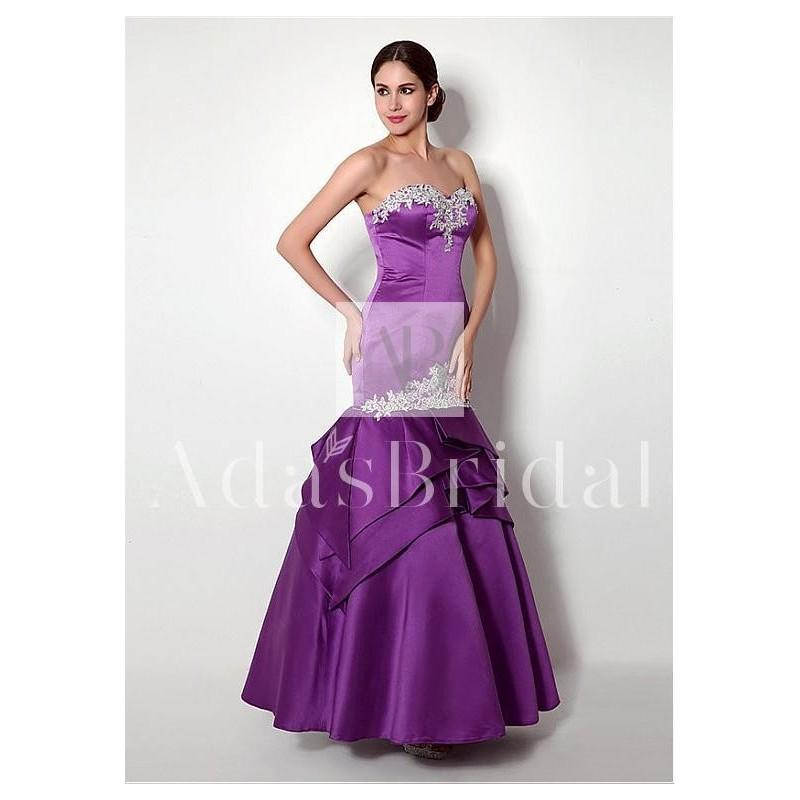 Свадьба - In Stock Fabulous Satin Sweetheart Neckline Mermaid Evening Dresses With Beaded Lace Appliques - overpinks.com