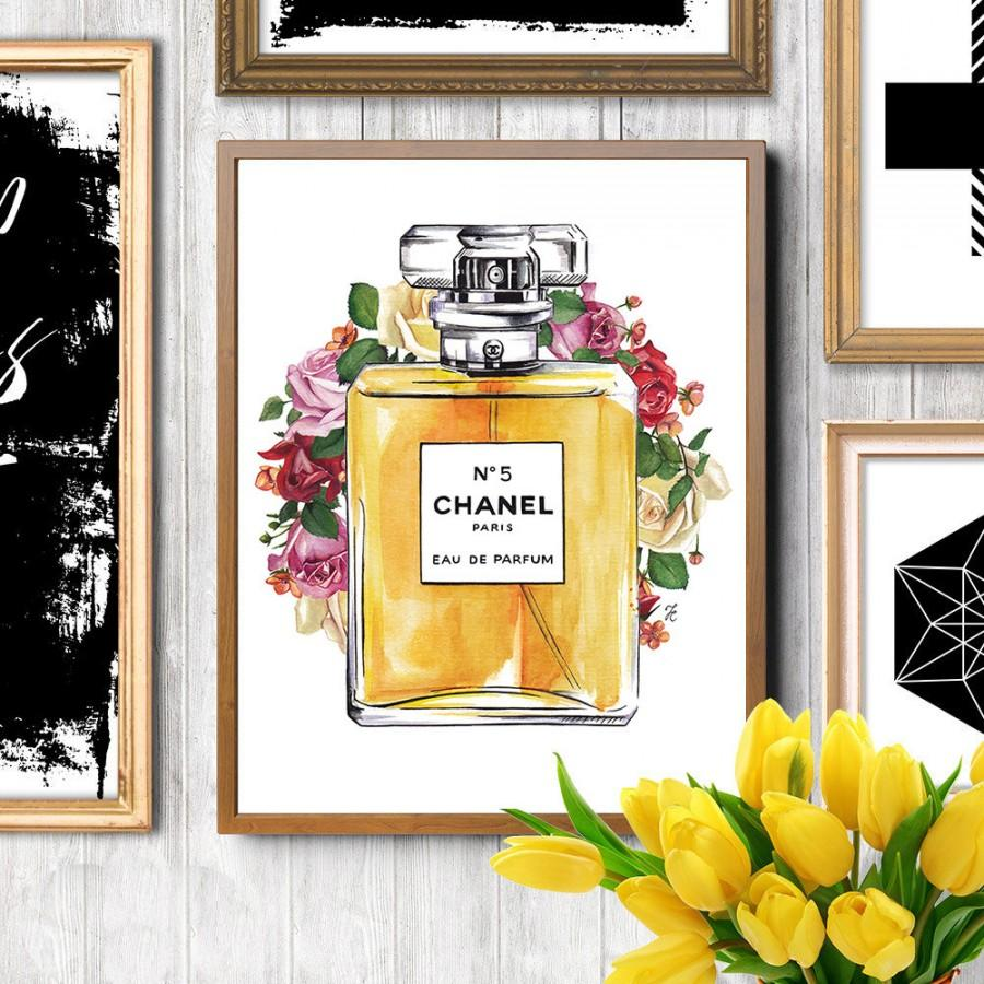 Mariage - Chanel perfume, Chanel art print, Chanel illustration, Chanel No.5, Chanel perfume print, Fashion illustration, Fashion Perfume print