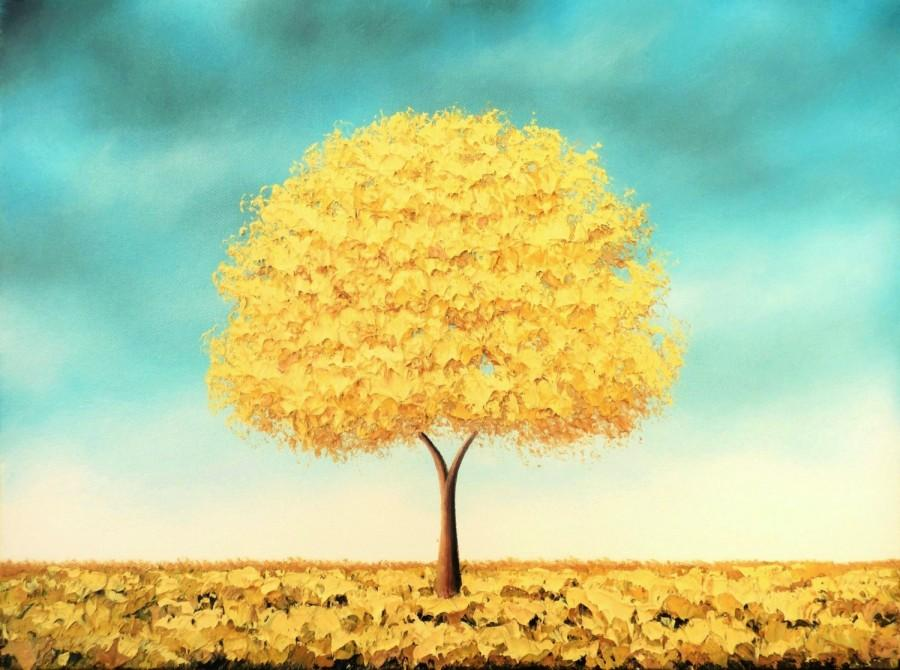 Wedding - Golden Tree Art Print of Yellow Tree Oil Painting, LIMITED Edition Print, Modern Blue and Yellow Wall Art, Autumn Gold Tree Print, 8x10