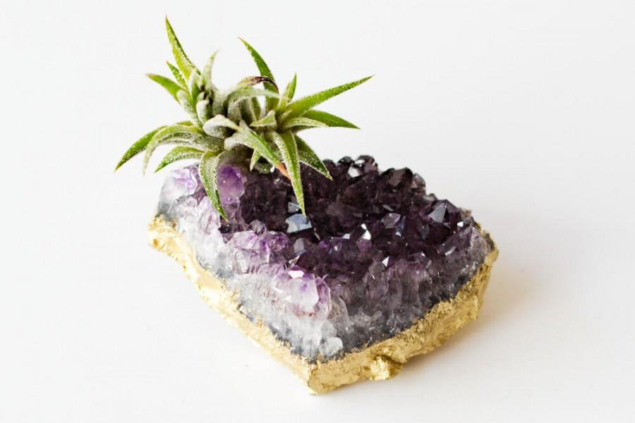 Wedding - Amethyst Crystal Air Plant, Gold Desk Accessories, Boho Decor, Housewarming Gift, Air Plant Terrarium, Friend Gift Best Friend Birthday Gift