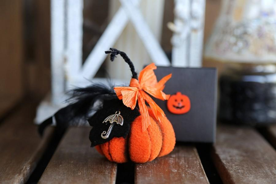 Düğün - Halloween fabric stuffed pumpkin Little orange pumpkin halloween home decor Halloween small mini pumpkin with black paper handmade gift box