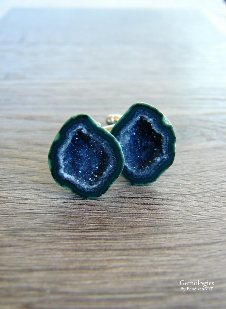 Düğün - Raw Geode Cufflinks for Men, Rough Geode Jewelry, Luxury Gift for Him, Wedding Day, Father of the Bride, Gift for Boyfriend, Anniversary