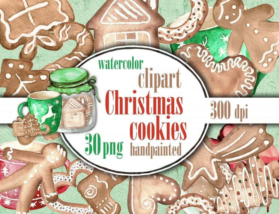 Boda - Christmas cookies clip art, Christmas sweets clipart watercolor, Christmas biscuits hand painted.