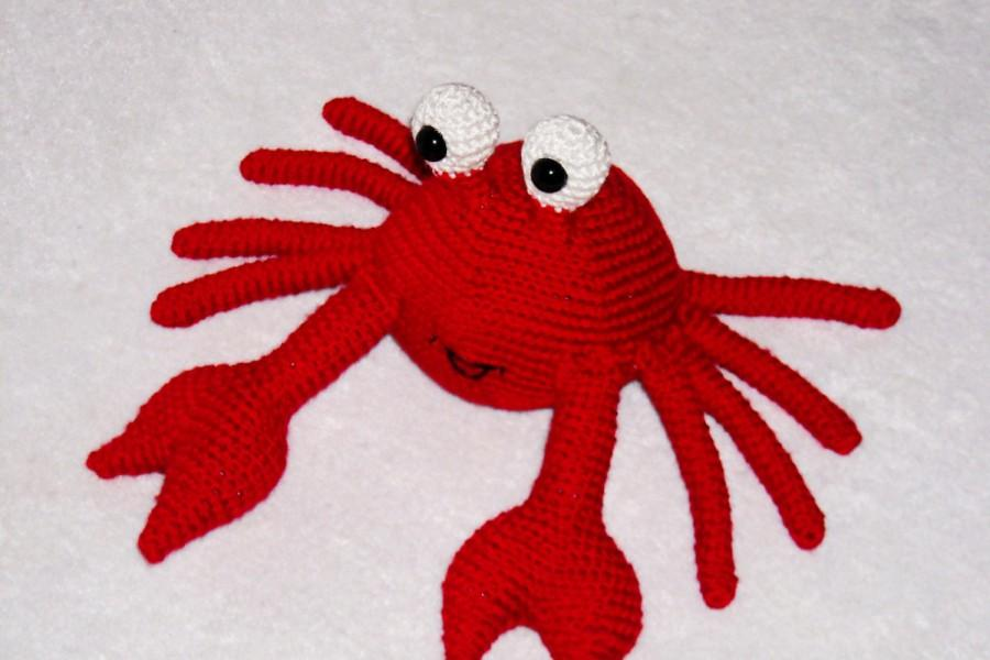 Wedding - Crochet Crab  Amigurumi Crab Crab Plush  Red Crab Stuffed Animal Crab Kawaii  Crab Stuffed Crab Doll Toy nautical home decor