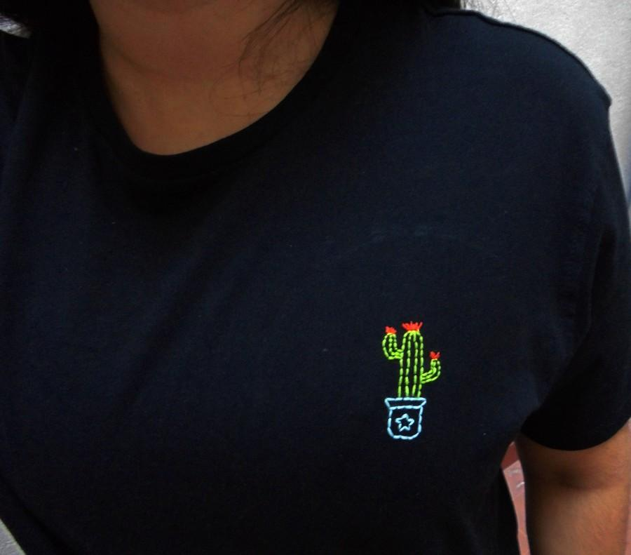 Embroidered cactus t shirt embroidery