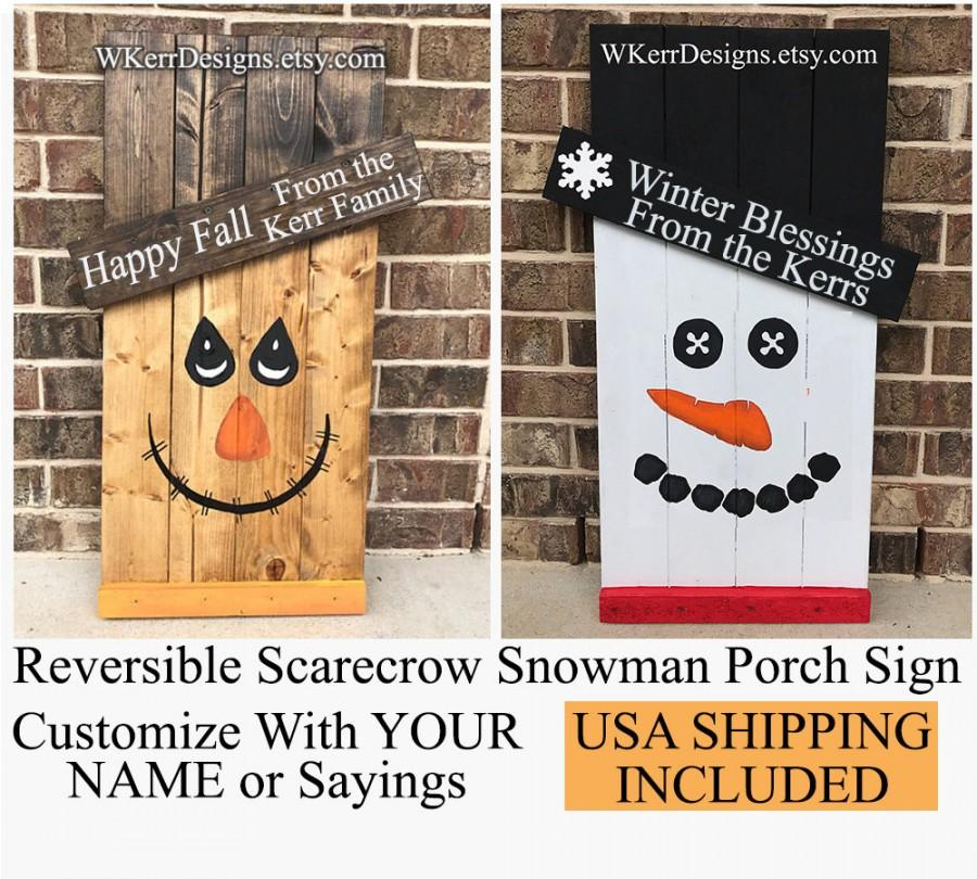"Hochzeit - Reversible Scarecrow Snowman Porch Sign, 30"" tall x 18"" Wide, USA Shipping costs included in price"
