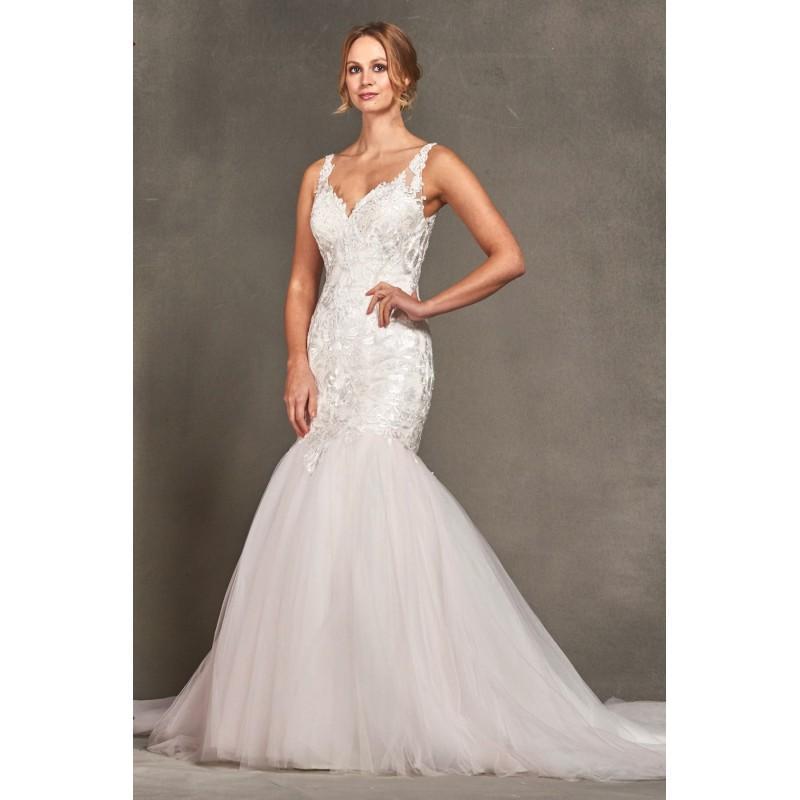 Wedding - Style 1700784 by LQ Designs - Ivory  White  Blush Lace  Tulle Low Back  V-Back Floor V-Neck Wedding Dresses - Bridesmaid Dress Online Shop