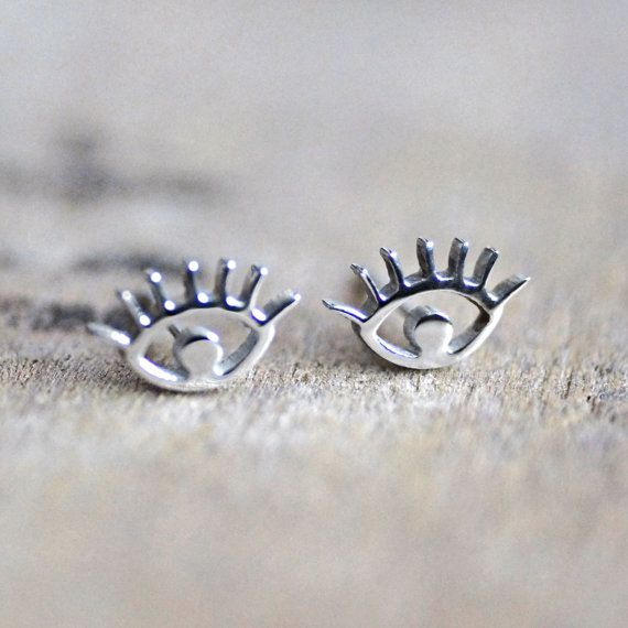 Wedding - Eye Earrings, Silver Studs, Evil Eye, Everyday Jewelry, For Sensitive Skin, Christmas, Jewellery, Birthday Gift For Her, Stainless Steel