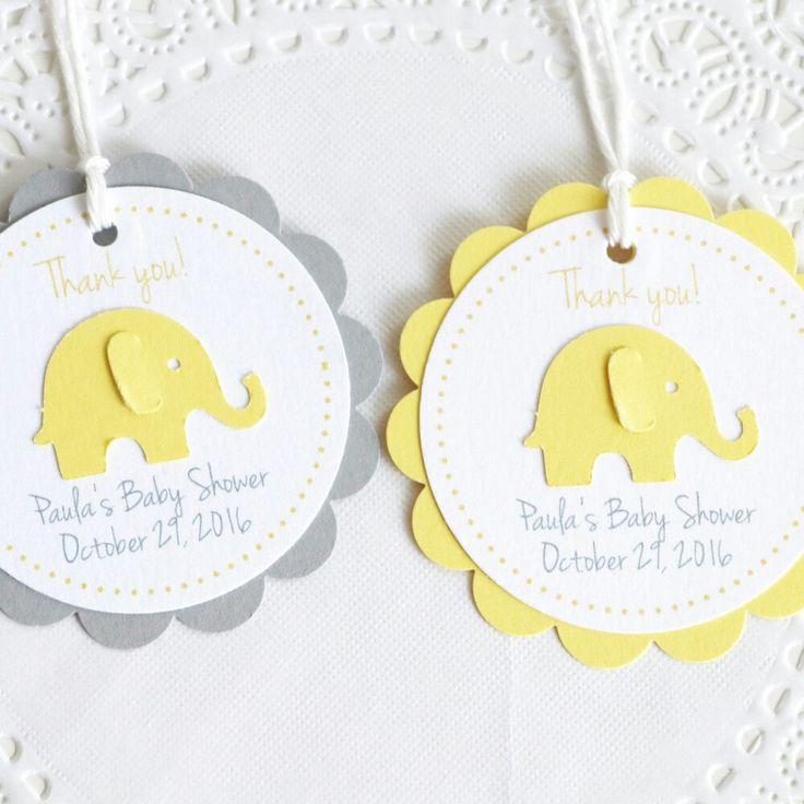 Yellow Elephant Tags Thank You Tags Baby Shower Tags Personalized