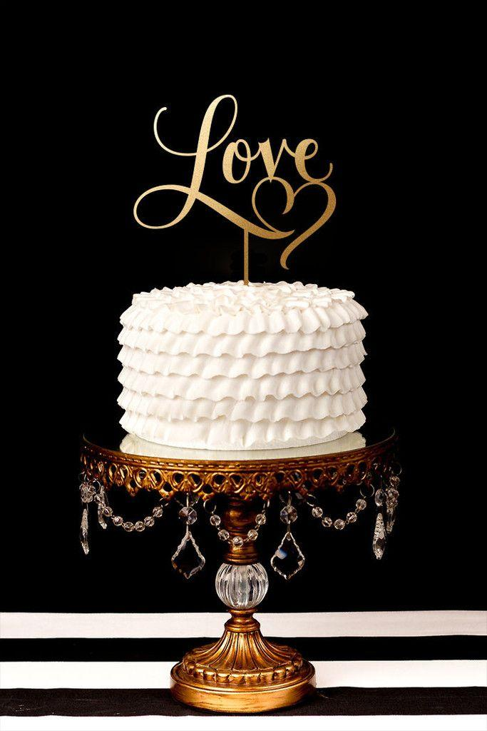 Wedding - Love Cake Topper With Heart Flourish