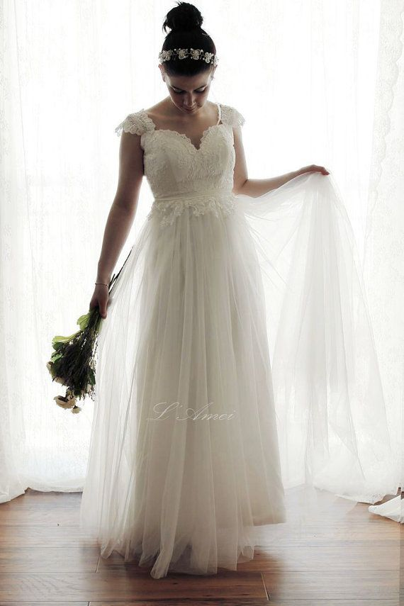 Hochzeit - Romantic Backless Boho Lace Wedding Dress Great For Outdoors Or Beach Wedding - AM12364023 -Elizabeth 2016