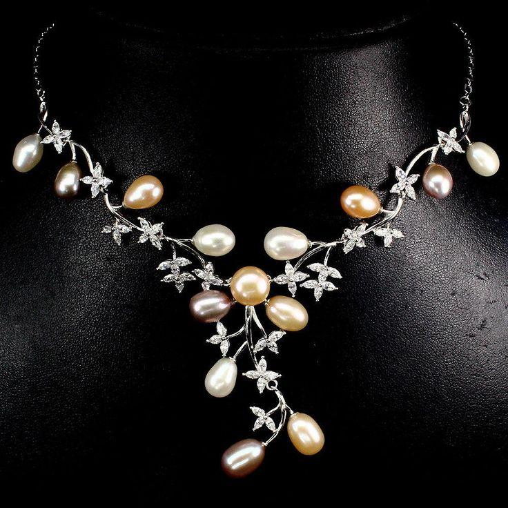 Свадьба - A Natural 14K White Gold Baroque Pearl AAAA CZ Necklace