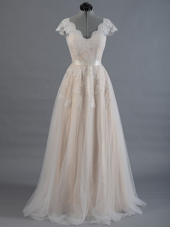 Cap Sleeve Lace Wedding Dress In Champagne Color V Back Alencon
