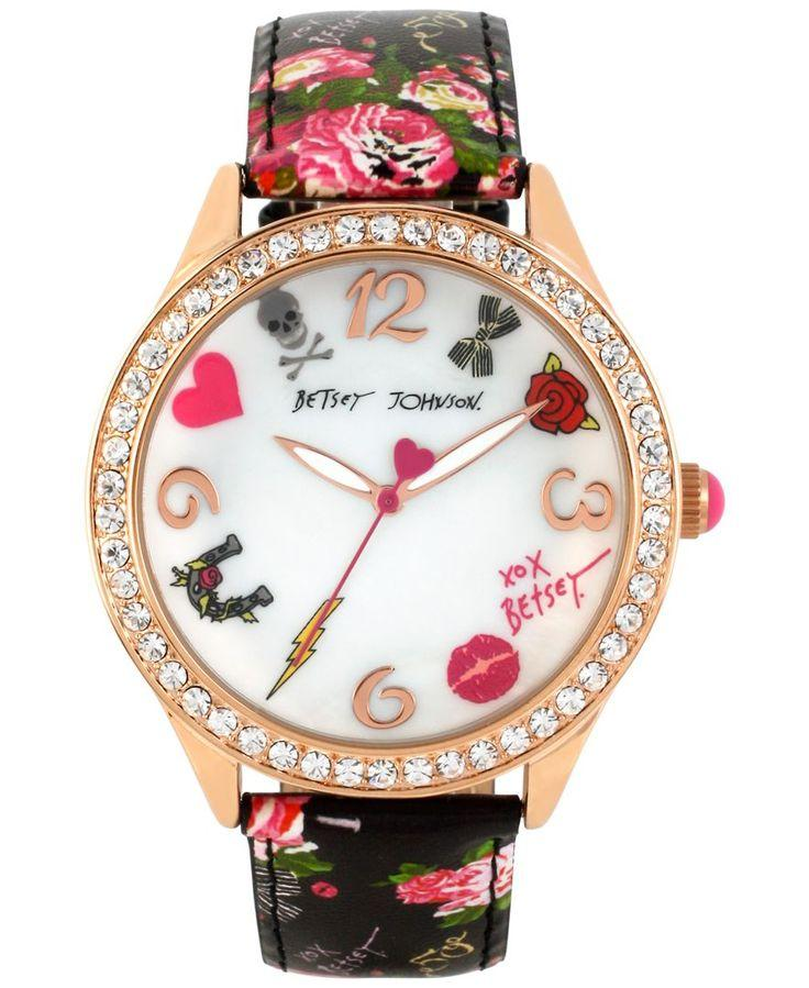 Wedding - Betsey Johnson Women's Rose Gold-Tone Floral-Printed Strap Watch 42mm BJ00131-63 - Watches - Jewelry & Watches - Macy's