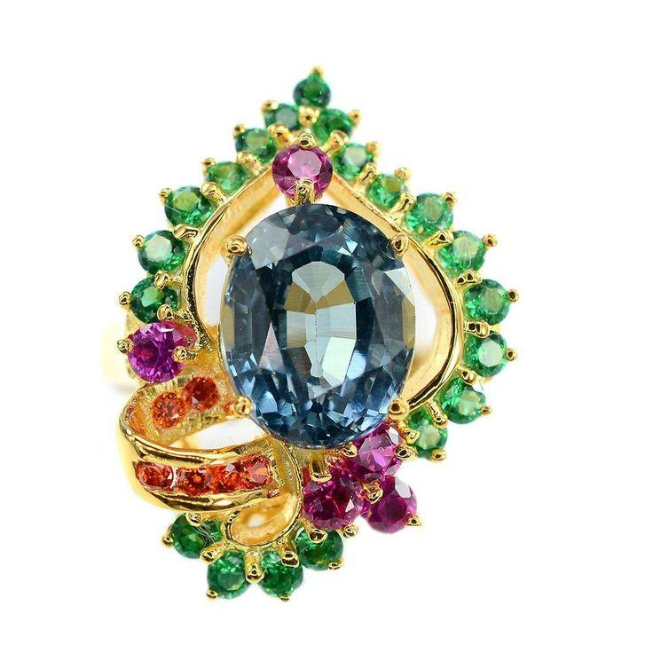 Mariage - Vintage 14K Yellow Gold 4.45CT Oval Cut Blue Green Sapphire With Garnet Sapphire Accent Ring