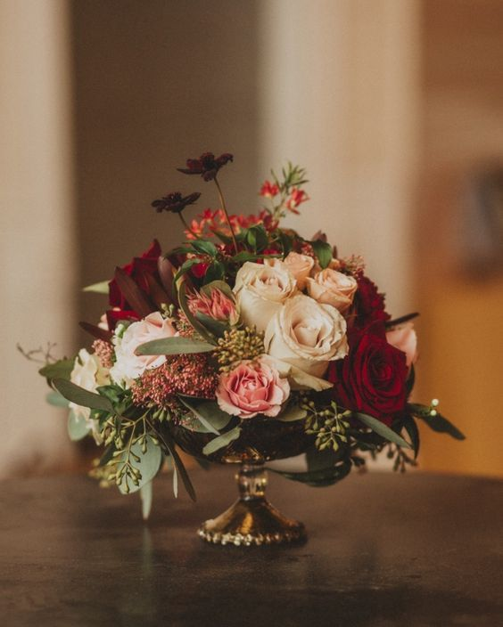 White Blush And Red Fall Wedding Reception Centerpiece 2756116