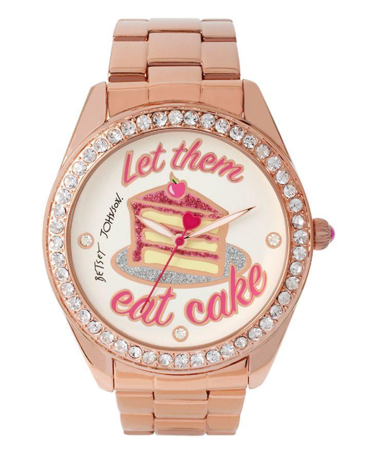 Wedding - Betsey Johnson Crystal & Rose Goldtone 'Let Them Eat Cake' Watch