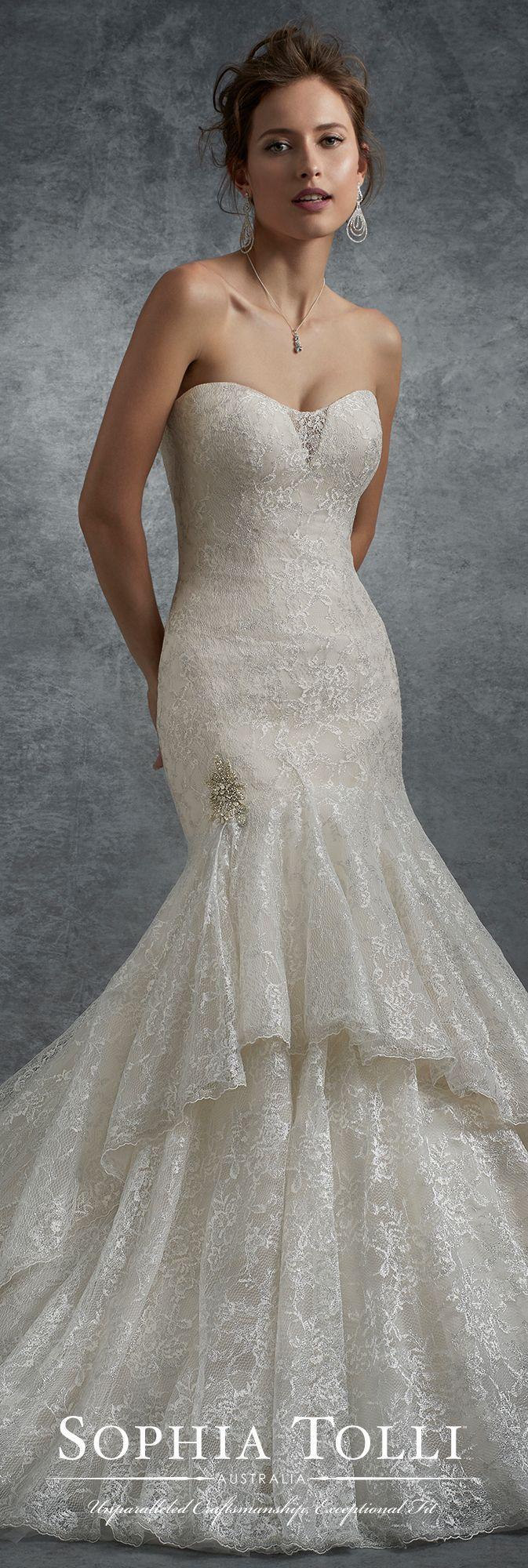 Mariage - Strapless Metallic Lace Trumpet Wedding Dress - Sophia Tolli Y21751
