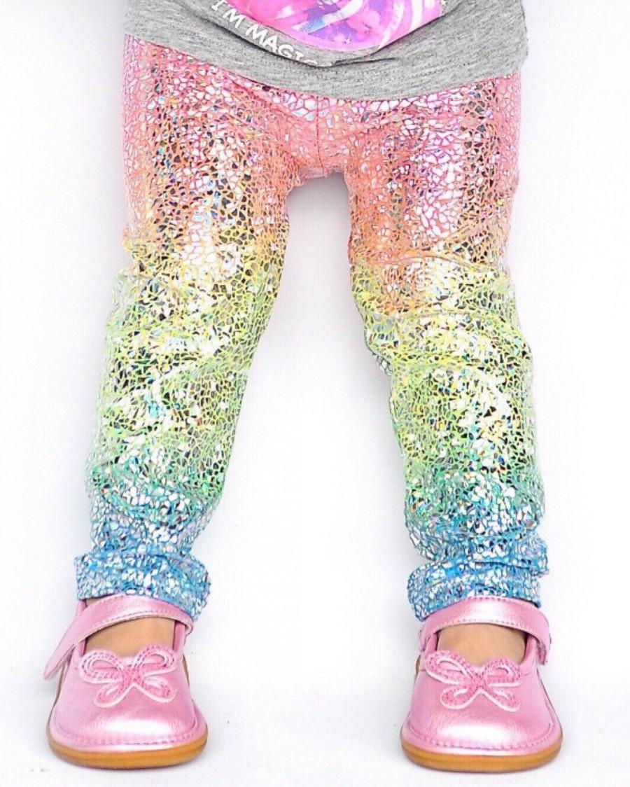 Düğün - Unicorn leggings- baby girl leggings- toddler leggings- kids leggings- metallic, sparkly holographic leggings- whimsical rainbow leggings