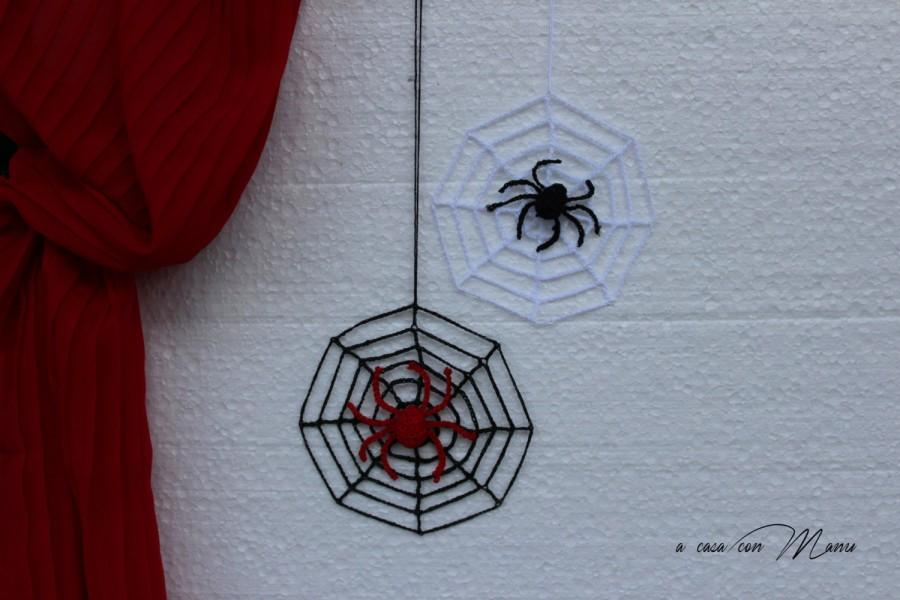 Hochzeit - Set di 2 decorazionidi Halloween, Set of 2 Halloween decorations, uncinetto decorazioni, ragno neroragnatela, spiderweb, crochet, Halloween