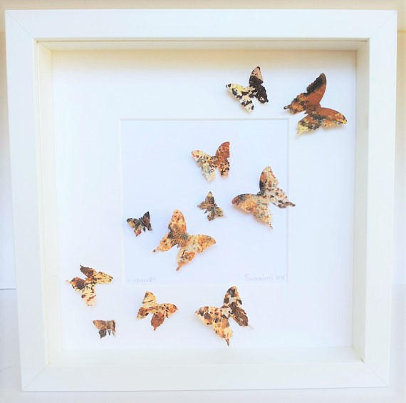 Düğün - Butterflies painting, handmade paper, butterfly art, handmade butterfly, wall butterflies, butterfly 3 D, wall decor, acrilic colors,