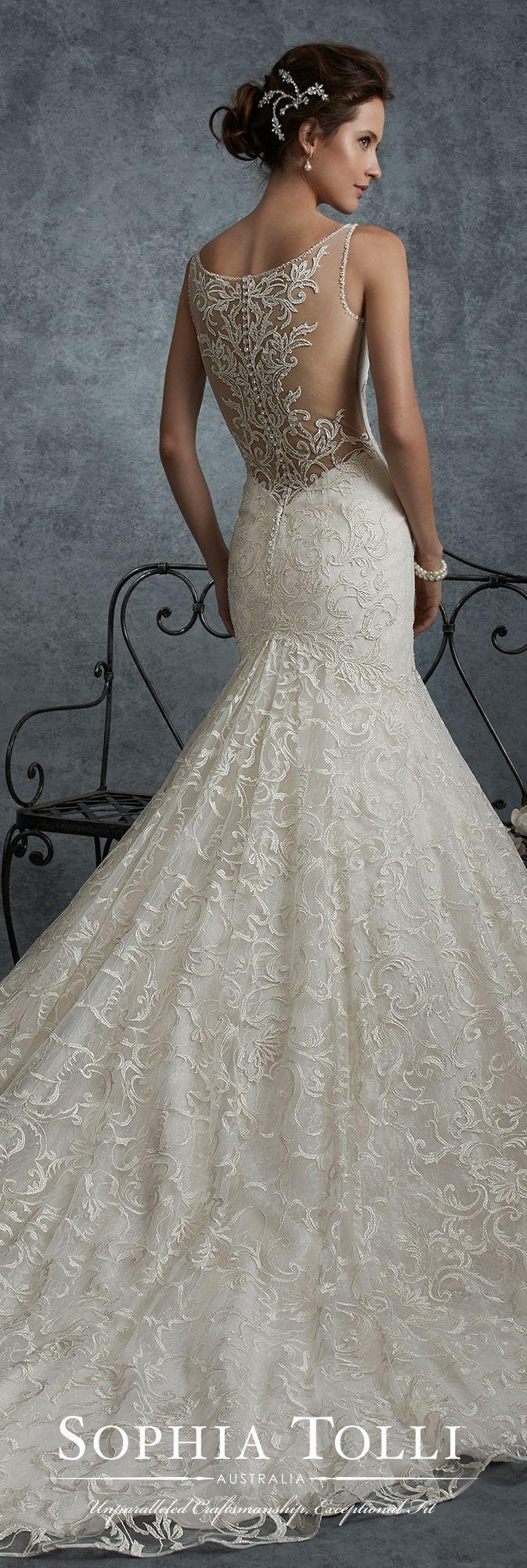 Mariage - Lace Illusion Back Trumpet Wedding Dress - Sophia Tolli Y21740