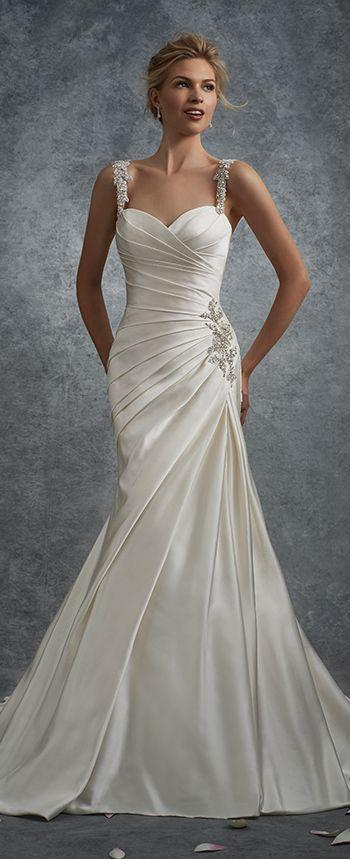 زفاف - Satin Fit And Flare Wedding Dress With Beaded Straps - Sophia Tolli Y21738