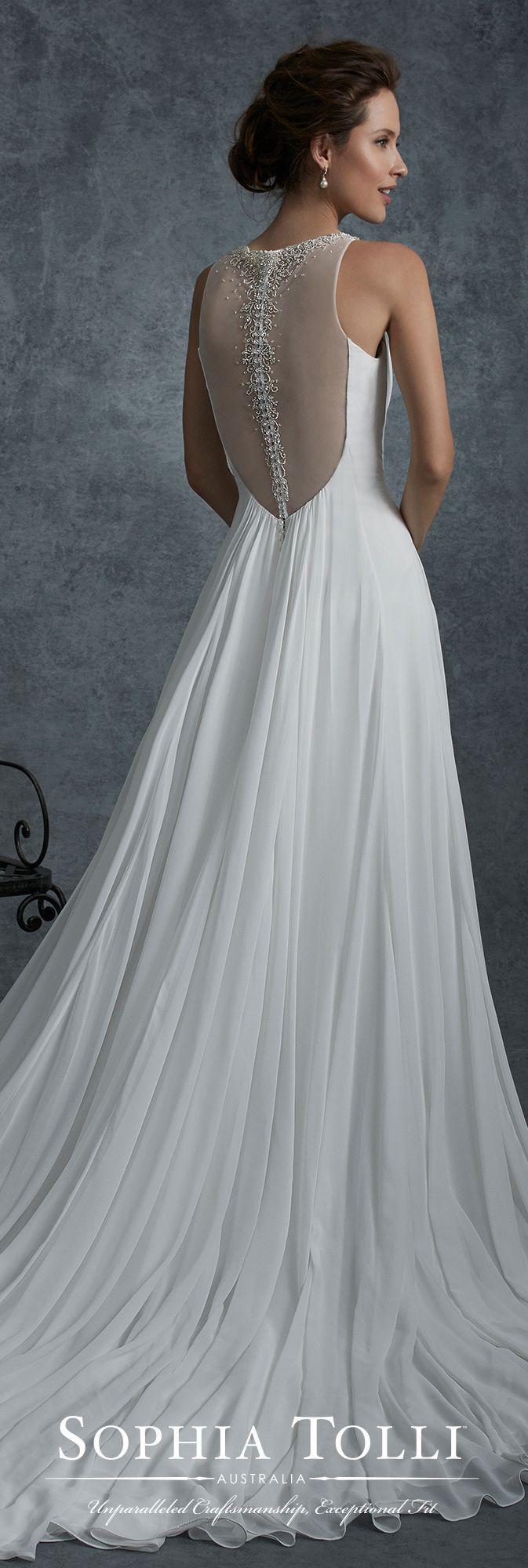 زفاف - Chiffon Sleeveless Wedding Dress With Illusion Back - Sophia Tolli Y21747