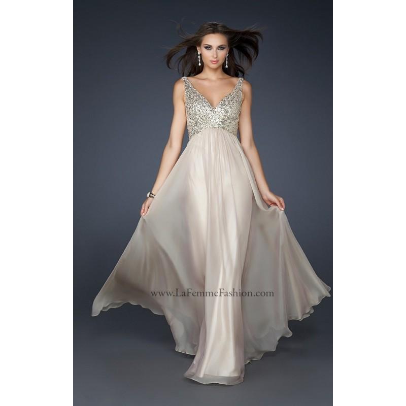 Hochzeit - Navy La Femme 17514 - Chiffon Open Back Sequin Dress - Customize Your Prom Dress