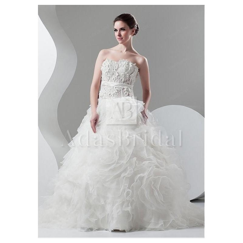 Düğün - Charming Organza Sweetheart Neckline See-through Ball Gown Wedding Dresses With Beaded Lace Appliques - overpinks.com